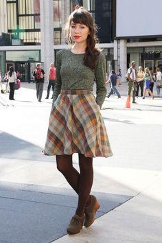 "Gray Esska Shoes, Dark Brown Tights, Brown Plaid Vintage Skirts | ""Spirals and Plaid"" by alaLadywolf"