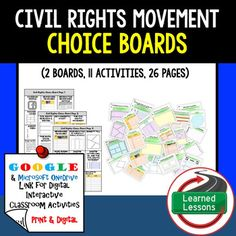 Civil Rights Movement Choice Board Activities (Paper and Google Drive Versions) THIS IS ALSO PART OF SEVERAL BUNDLES THIS IS ALSO PART OF A MEGA BUNDLE TO SAVE $$$And an American History CHOICE BOARD BUNDLE TO SAVE $$$Civil Rights Movement BUNDLE VISIT MY STORE AND FOLLOW TO GET UPDATES WHEN NEW RESOURCES ARE ADDED Included: 3 Choice Boards (Print, Google Drive, and One Drive) 27 activities54 pages of templates and resources to use as needed (All pages are Black/White and Color)This is an…