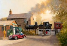 View paintings and fine art prints by renowned British landscape and railway artist - Rob Rowland GRA. Nostalgic Art, Railroad Pictures, Rail Transport, Steam Railway, Bonde, Train Times, Train Art, Train Pictures, Railway Posters