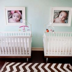 Cute twin nursery - Love the pictures above the cribs!