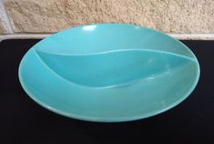 Turquoise Melamine Divided Bowl - Holiday by Kenro - Turquoise Blue with Reddish Brown Flecks - 9 Inch Serving Dish - Vintage Retro Dining by ClassyVintageGlass on Etsy