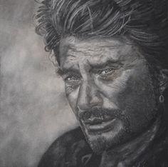 Portrait Johnny Hallyday - Tableau de Sable - Peinture,  80x80 cm ©2013 par David Cadran - chanteur, acteur, portrait stars, tableau de sable  #sandart #tableaudesable #sand #sandartist #artportrait