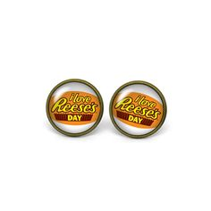 X367- I love Reese's Day, Glass Dome Post Earrings by superpopcorns on Etsy https://www.etsy.com/listing/200318027/x367-i-love-reeses-day-glass-dome-post