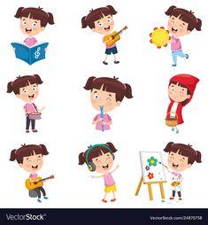 Girl doing various activities Royalty Free Vector Image Montessori Activities, Class Activities, Toddler Activities, Toddler Clock, What Is Digital, Barbie World, Girl Cartoon, Illustration, Vector Free