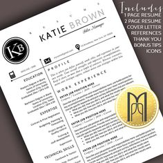 Resume Template and Cover Letter Template Modern Resume Template, Creative Resume Templates, Cover Letter For Resume, Cover Letter Template, Katie Brown, Resume Writing Tips, Thank You Letter, Professional Resume, Lettering