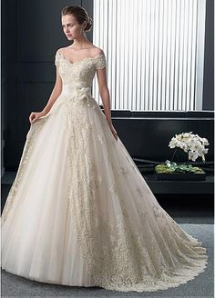 Glamorous Tulle Off-the-shoulder Neckline Natural Waistline Ball Gown Wedding Dress With Beaded Lace Appliques