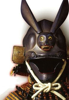 """I realize this helmet was made to be powerful but I can't stop laughing at the killer rabbit."" -Are you kidding me? This is the freakin' scariest battle helmet ever. Someone get the Holy Hand Grenade. Samurai Helmet, Samurai Weapons, Helmet Armor, Samurai Armor, Arm Armor, Japanese Warrior, Japanese Sword, Katana, Samourai Tattoo"