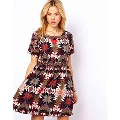 ASOS Smock Dress In Diamond Star Print