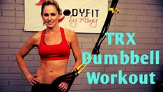 15 Minute TRX with Dumbbell Workout for Strength and Cardio Trx Ab Workout, Trx Abs, Gym Workout Chart, 15 Minute Workout, Workout Videos, Cardio, Suspension Workout, Trx Suspension Trainer, Suspension Training