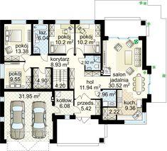 Kaprys IV  projekt - Parter 138.82 m²  + garaż 31.95 m² House Plans Mansion, House Floor Plans, Amazing Buildings, House Entrance, Ground Floor, My Dream Home, Planer, Sweet Home, New Homes