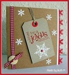 Joyous Christmas tag card - inspired by John Lewis catalogue front cover