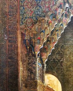 Detail from The Courtyard of the Lions from Alhambra in Granada Alexis Victor 1834. #detailing #painting #art #artwork #gorgeous #graphic #architecture #design #columns #colours #warm #fountain #instagood #instagram #instame #instadaily #follow #like4like #like #me