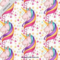 Patrón de adorable unicornio de acuarela con corazones y estrellas Vector Gratis