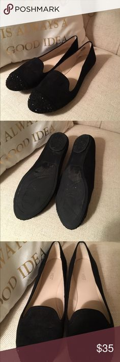 Like new Nine West Smoking slippers Worn once and in perfect condition! Black velvet material with black rhinestones. These shoes are beautiful. selling because I don't have anywhere to wear them. Nine West Shoes Flats & Loafers