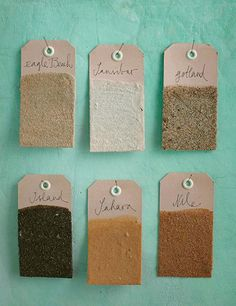 """love this idea!  Cardboard tags """"dipped"""" with sand from your vacation (or not vacation!)"""
