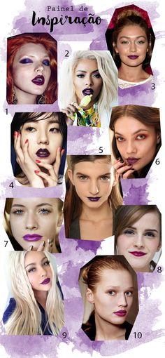 Como usar batom roxo, vários tons de batom roxo. Purple lipstick Maquiagens com batom roxo.