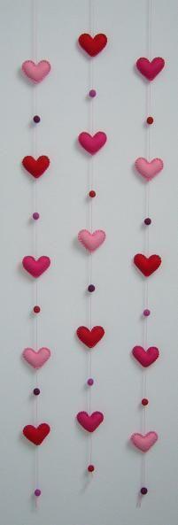 hangers van vilt roze rood