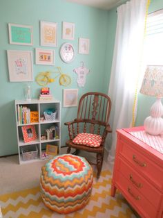 Aqua and Coral Nursery Corner from Project Nursery.