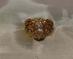 Marquise CZ 18kt GE Victorian Filigree Ring SOLD