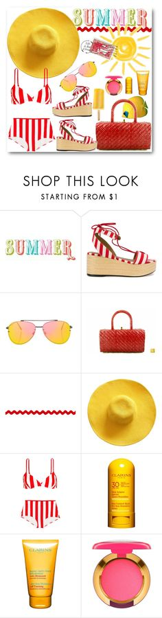 """""""Summer Brights"""" by vintagecarwen ❤ liked on Polyvore featuring Sonia Rykiel, Topshop, Solid & Striped, Clarins, MAC Cosmetics and vintage"""