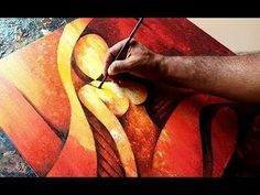 Demonstration of abstract figurative painting in acrylics. Background is done in fluid acrylics using thin layers and spraying water. Drawing was done before making background. Because of thin layers of background, drawing underneath was visible. Enjoyed