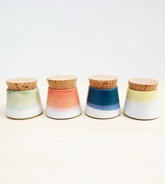 Small Ceramic Spice Jars, Set of 4   Dress up the spice rack with this set of handmade ceramic jars...   Food Storage Containers