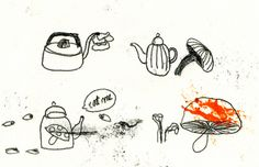 Kettle and Mushroom  #elleaimetekent Gail Mounier.elleaime drawingchallenge #illustration #illustrator #monotype #monotypie #printmaker #doodle #drawing #quicksketch #instaart #illustagram #instadraw #instadoodle #instadrawing #handdrawn #kettle #mushrooms #aliceinwonderland #illustrationchallenge #illustrationprompts #drawingeveryday #sketchaday #drawingaday #doodlechallenge #dailydrawing #createeveryday