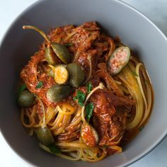 Slow Cooker Chicken Cacciatore with Linguine and Caper Berries   Food & Wine