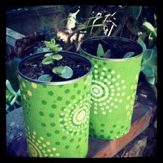 Upcycled soup cans = happy plants. Via Twitter - @writerlane