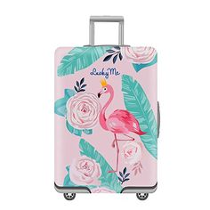 Baggage Covers Flamingo Flowers Pattern Round Washable Protective Case