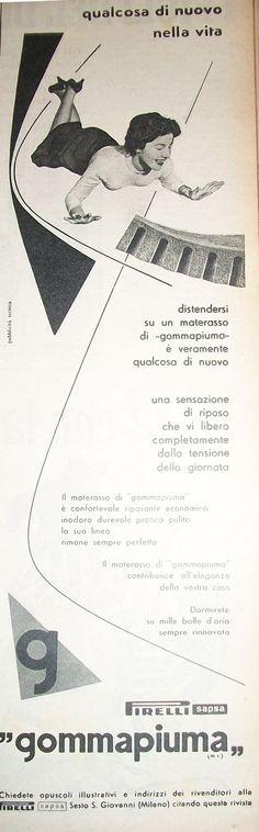 """www.piziarte.net La pubblicità negli anni 50 """"Gommapiuma."""" dalla rivista settimanale """"Il Tempo"""" 1954."""