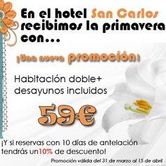 Desde el 31 de marzo al 15 de abril ponemos en marcha la promoción especial para primavera. Habitación doble con desayunos incluidos por 59€. Además aquellos que reserven con 10 o más días de antelación, tendrán un 10% de descuento. #Santiago #hotel #turismo