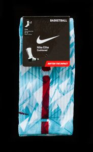Thesockgame.com Custom Nike elite socks are not sold in stores anywhere...These were created exclusively by thesockgame.comORDER PROCESSING IS 7-10 BUSINESS DAYS BECAUSE OF HIGH DEMAND!!! WE CUSTOM MAKE EACH PAIR ON DEMAND.� Dri-fit fabric that pulls away sweat to help keep you cool and comfortable� Reinforced heel and toe for enhanced durability � Left/Right specific design for a better fit � Supportive fit with arch compression � Stripes up the backPLEASE READ: These are AUTHENTIC Custom…