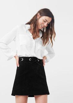 Appliqué suede skirt - Skirts for Women | MANGO USA