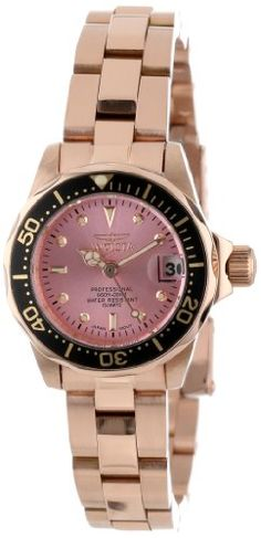 Invicta Women's 14100 Pro Diver Pink Dial 18k Rose Gold Ion-Plated Stainless Steel Watch $208.50