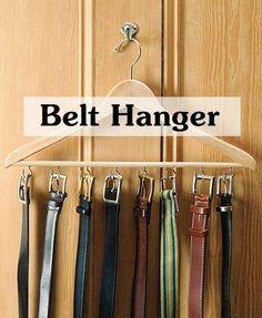A few small screw hooks on a wooden hanger creates a great belt hanger