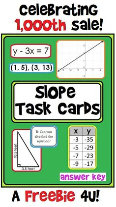 "**FREEBIE** My most popular task cards! Help me celebrate my 1,000th sale by downloading these for free! Hit ""Like"" on my Facebook page to gain access to my ""Freebies"" tab and download these popular Slope Task Cards!"