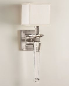 Bathroom Sconces Nickel wall sconce - brass and solid crystal sconce in polished nickel