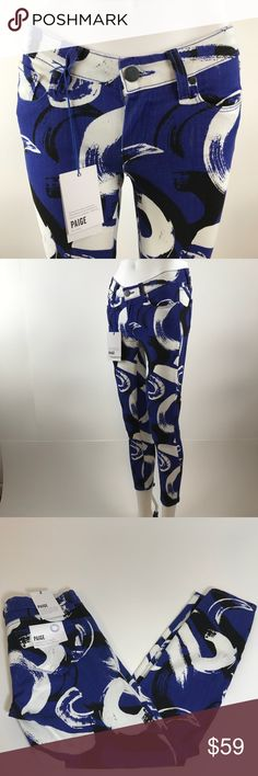 "PAIGE Verdugo crop New Paige indigo, black and white funky verdugo print crop jean. 25"" inseam (Lot2 PAIGE Jeans Ankle & Cropped"