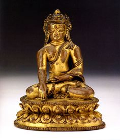 """12.jpg (684×800) www.asianart.com684 × 800以圖搜尋 Image of catalogue figure no. 12 """"Seated crowned Buddha"""" Gilt copper alloy, Traces of red and black pigment Nepal, Khasa Kingdom, 13th-14th Century H. 11.5 cm EA 1996.3"""