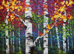 """""""Kaleidoscope Trees"""" MELISSA MCKINNON Contemporary Abstract Landscape Artist features BIG COLOURFUL PAINTINGS of Aspen & Birch Trees, Rocky Mountains and stunning views of the Canadian prairies, big skies and ocean beaches. Western Art."""