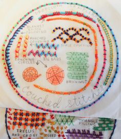 Modern Embroidery Samplers, ready to hoop and stitch. Embroidery Sampler, Modern Embroidery, Beaded Embroidery, Embroidery Patterns, Straight Stitch, Back Stitch, Couching Stitch, Running Stitch, Blanket Stitch
