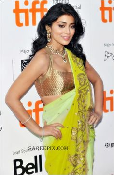 Shriya_saran_green_designer_saree