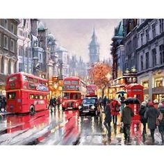 UK/_ AC/_ 5D DIY Diamond Painting Pedestrians in the Rain Decorative Home Office C