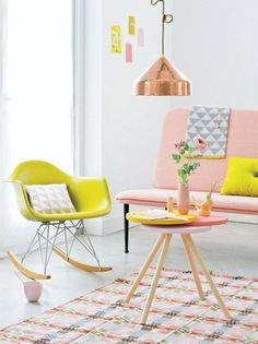 Interior design pastel coloured home living room decor inspirational idea Frosta Ikea, Deco Pastel, Pastel Decor, Pastel Interior, Bohemian Interior, Luxury Interior, Interior Shop, Yellow Interior, Brown Interior