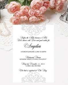 Printable Bridal Shower Invitations Elegant Invitations Digital Invitations by PapierCouture