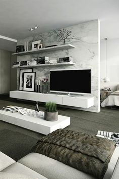 Interior design ideas for a luxury living room decor. On this living room you can see extraordinary furniture design pieces. Living Room Modern, Home Living Room, Apartment Living, Living Room Designs, Modern Bedrooms, Apartment Interior, Room Interior, Apartment Ideas, Cozy Apartment