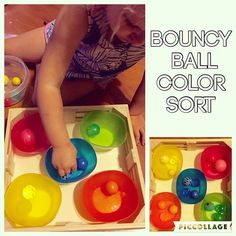 Bouncy Ball Color Sort {We have been doing a lot of color sorting activities lately! That's because they are Bree's favorite and she is getting really really good at her colors!} {B has a ridiculously big bouncy ball collection (& rock collection) So that's why I decided to find a way to use them educationally!} #toddlerfun #toddlerplay #toddlerlearning #toddleractivity #toddlercolors #toddlereducation