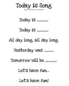 """Kindergarten Morning Board Song, """"Today is…"""" would be cute to do with students every morning before starting class to help them learn days of the week - Kindergarten Lesson Plans Kindergarten Songs, Preschool Music, Preschool Lessons, Preschool Learning, Kindergarten Classroom, Classroom Activities, Kindergarten Calendar, Preschool Pictures, Kindergarten Circle Time"""