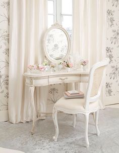Buy the beautifully designed Delphine Distressed Shabby Chic Dressing Table, by The French Bedroom Company. Shabby French Chic, Shabby Chic Français, Shabby Chic Dressing Table, White Dressing Tables, Casas Shabby Chic, Dressing Table Vanity, Shabby Chic Bedrooms, Shabby Cottage, Vanity Tables